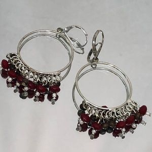 HOOP EARRING DANGLE BEADED BROWN RED JEWELRY